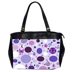 Purple Awareness Dots Oversize Office Handbag (two Sides)