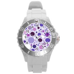 Purple Awareness Dots Plastic Sport Watch (Large)