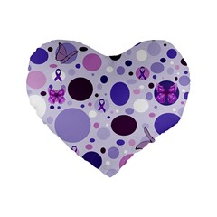 Purple Awareness Dots 16  Premium Heart Shape Cushion