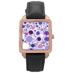 Purple Awareness Dots Rose Gold Leather Watch
