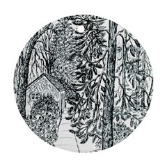 Castle Yard in Winter  by Ave Hurley of ArtRevu ~ Ornament (Round)