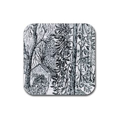 Castle Yard in Winter  by Ave Hurley of ArtRevu ~ Rubber Coaster (Square)