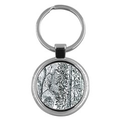 Castle Yard in Winter  by Ave Hurley of ArtRevu ~ Key Chain (Round)