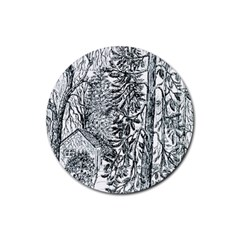 castle Yard In Winter  By Ave Hurley Of Artrevu   Rubber Round Coaster (4 Pack)