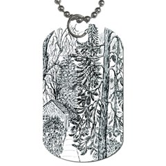 Castle Yard in Winter  by Ave Hurley of ArtRevu ~ Dog Tag (One Side)