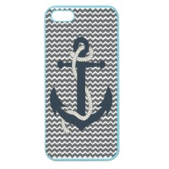 Grey Chevron With Navy Anchor Apple Seamless iPhone 5 Case (Color)