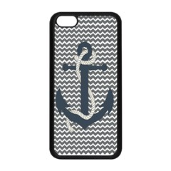 Grey Chevron With Navy Anchor Apple iPhone 5C Seamless Case (Black)