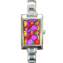 Colored Easter Eggs Rectangular Italian Charm Watch