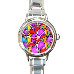 Colored Easter Eggs Round Italian Charm Watch