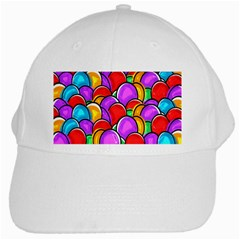 Colored Easter Eggs White Baseball Cap