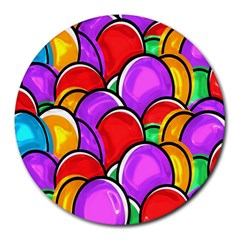 Colored Easter Eggs 8  Mouse Pad (Round)