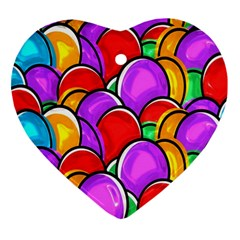 Colored Easter Eggs Heart Ornament