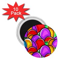 Colored Easter Eggs 1 75  Button Magnet (10 Pack)