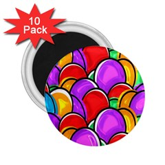 Colored Easter Eggs 2.25  Button Magnet (10 pack)