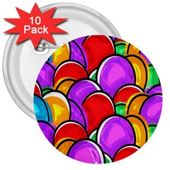 Colored Easter Eggs 3  Button (10 pack)