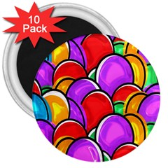 Colored Easter Eggs 3  Button Magnet (10 pack)