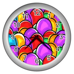 Colored Easter Eggs Wall Clock (Silver)