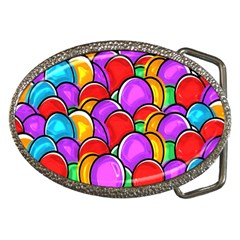 Colored Easter Eggs Belt Buckle (oval)