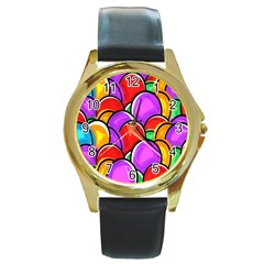 Colored Easter Eggs Round Leather Watch (gold Rim)