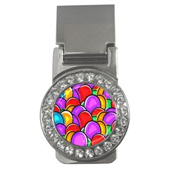 Colored Easter Eggs Money Clip (CZ)