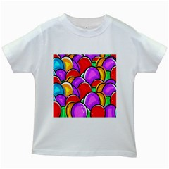 Colored Easter Eggs Kids T Shirt (white)