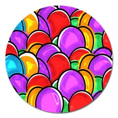 Colored Easter Eggs Magnet 5  (Round)
