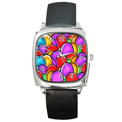 Colored Easter Eggs Square Leather Watch