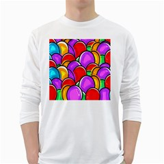 Colored Easter Eggs Men s Long Sleeve T-shirt (White)
