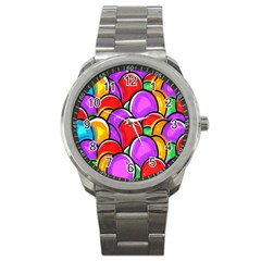 Colored Easter Eggs Sport Metal Watch