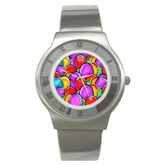 Colored Easter Eggs Stainless Steel Watch (slim)