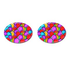 Colored Easter Eggs Cufflinks (Oval)