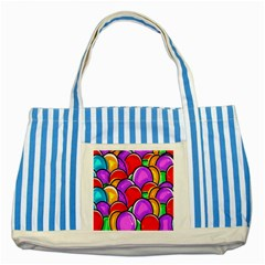 Colored Easter Eggs Blue Striped Tote Bag