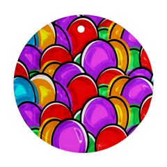 Colored Easter Eggs Round Ornament (two Sides)