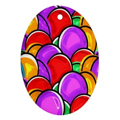 Colored Easter Eggs Oval Ornament (two Sides)