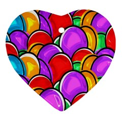 Colored Easter Eggs Heart Ornament (two Sides)