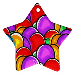 Colored Easter Eggs Star Ornament (Two Sides)