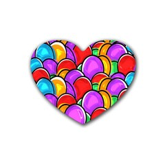 Colored Easter Eggs Drink Coasters (Heart)