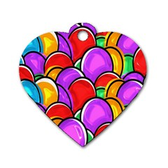 Colored Easter Eggs Dog Tag Heart (Two Sided)