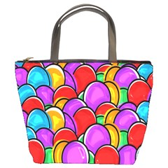 Colored Easter Eggs Bucket Handbag