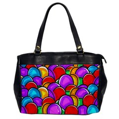 Colored Easter Eggs Oversize Office Handbag (One Side)