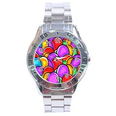 Colored Easter Eggs Stainless Steel Watch