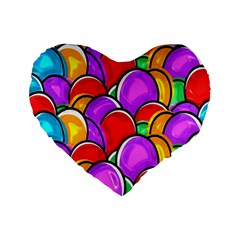 Colored Easter Eggs 16  Premium Heart Shape Cushion