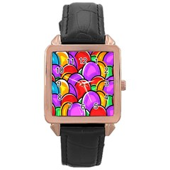 Colored Easter Eggs Rose Gold Leather Watch