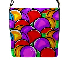 Colored Easter Eggs Flap Closure Messenger Bag (Large)