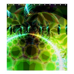 Dawn Of Time, Abstract Lime & Gold Emerge Shower Curtain 66  X 72  (large)
