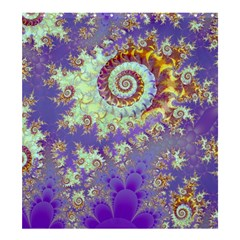 Sea Shell Spiral, Abstract Violet Cyan Stars Shower Curtain 66  x 72  (Large)