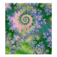 Rose Apple Green Dreams, Abstract Water Garden Shower Curtain 66  x 72  (Large)