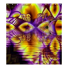 Golden Violet Crystal Palace, Abstract Cosmic Explosion Shower Curtain 66  x 72  (Large)