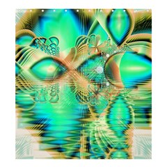 Golden Teal Peacock, Abstract Copper Crystal  Shower Curtain 66  x 72  (Large)