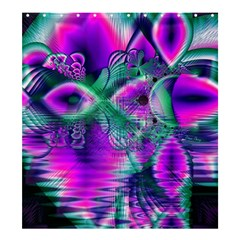 Teal Violet Crystal Palace, Abstract Cosmic Heart Shower Curtain 66  x 72  (Large)